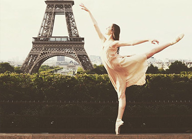 Ballerina in front of Eiffel Tower