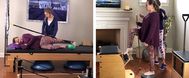 Two photos of Pilates instructor working with student on equipment